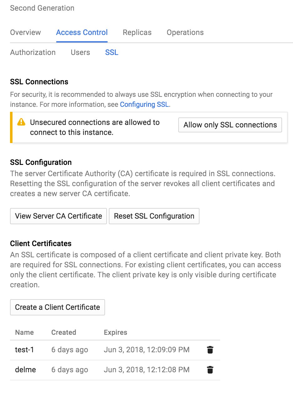 Forcing TLS and Client Certs are different